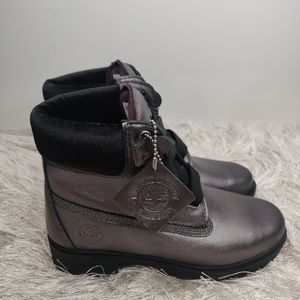 New Timberland purple /silver boots sz 6